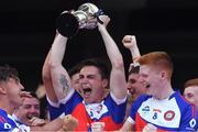 2 August 2019; Conor Mathers of New York Freedom lifts the cup after beating New York Liberty in the Renault GAA World Games Mens Football Native Cup Final during the Renault GAA World Games 2019 Day 5 - Cup Finals at Croke Park in Dublin. Photo by Piaras Ó Mídheach/Sportsfile