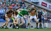 27 July 2019; William O'Donoghue of Limerick in action against Kilkenny players, from left, Adrian Mullen, John Donnelly, and TJ Reid during the GAA Hurling All-Ireland Senior Championship Semi-Final match between Kilkenny and Limerick at Croke Park in Dublin. Photo by Piaras Ó Mídheach/Sportsfile