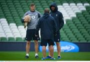 9 August 2019; Coaching staff, from left, forwards coach Simon Easterby, skills and kicking coach Richie Murphy and defence coach Andy Farrell during the Ireland Rugby Captain's Run at the Aviva Stadium in Dublin. Photo by David Fitzgerald/Sportsfile