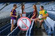 9 August 2019;  The Road Safety Authority (RSA), Gaelic Players Association (GPA) and Women's Gaelic Players Association (WGPA) today announced a three-year collaboration to promote road safety awareness. Initially focusing on reducing the incidences of two killer behaviours on Irish roads – using a mobile phone while driving and driver fatigue, together the three organisations hope to help drive behavioural change amongst a younger cohort of road users. In attendance at a Road Safety Authority and Gaelic Players Association announcement of a new road safety partnership are, from left, Matthew O'Hanlon of Wexford, Niamh Rockett of Waterford United, Olivia Divilly of Galway and Michael Murphy of Donegal at Croke Park in Dublin. Photo by Sam Barnes/Sportsfile