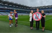 9 August 2019; The Road Safety Authority (RSA), Gaelic Players Association (GPA) and Women's Gaelic Players Association (WGPA) today announced a three-year collaboration to promote road safety awareness. Initially focusing on reducing the incidences of two killer behaviours on Irish roads – using a mobile phone while driving and driver fatigue, together the three organisations hope to help drive behavioural change amongst a younger cohort of road users. In attendance at a Road Safety Authority and Gaelic Players Association announcement of a new road safety partnership are, from left, Niamh Rockett of Waterford United, Matthew O'Hanlon of Wexford, Maria Kinsella, WGPA CEO, Paul Flynn, GPA CEO and Moyagh Murdock, RSA CEO, at Croke Park in Dublin. Photo by Sam Barnes/Sportsfile