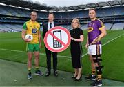 9 August 2019; The Road Safety Authority (RSA), Gaelic Players Association (GPA) and Women's Gaelic Players Association (WGPA) today announced a three-year collaboration to promote road safety awareness. Initially focusing on reducing the incidences of two killer behaviours on Irish roads – using a mobile phone while driving and driver fatigue, together the three organisations hope to help drive behavioural change amongst a younger cohort of road users. In attendance at a Road Safety Authority and Gaelic Players Association announcement of a new road safety partnership are, from left, Michael Murphy of Donegal, Paul Flynn, GPA CEO, Moyagh Murdock, RSA CEO, and Matthew O'Hanlon of Wexford at Croke Park in Dublin. Photo by Sam Barnes/Sportsfile