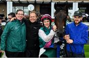 9 August 2019; Siskin, with Jockey Colin Keane, third from left, and Trainer Ger Lyons, second from left, with winning connections after winning The Keeneland Phoenix Stakes at The Curragh Racecourse in Kildare. Photo by Sam Barnes/Sportsfile