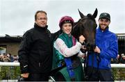 9 August 2019; Siskin, with jockey Colin Keane, centre, and trainer Ger Lyons, left, after winning The Keeneland Phoenix Stakes at The Curragh Racecourse in Kildare. Photo by Sam Barnes/Sportsfile