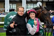 9 August 2019; Siskin, with jockey Colin Keane, right, and trainer Ger Lyons, left, after winning The Keeneland Phoenix Stakes at The Curragh Racecourse in Kildare. Photo by Sam Barnes/Sportsfile