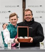 9 August 2019; Jockey Colin Keane, left, and trainer Ger Lyons, after winning The Keeneland Phoenix Stakes at The Curragh Racecourse in Kildare. Photo by Sam Barnes/Sportsfile