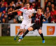 9 August 2019; Andy Lyons of Bohemians in action against Oscar Brennan of Shelbourne during the Extra.ie FAI Cup First Round match between Bohemians and Shelbourne at Dalymount Park in Dublin. Photo by Stephen McCarthy/Sportsfile