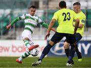 9 August 2019; Graham Burke of Shamrock Rovers in action against John Smith, 23, and Daniel O'Reilly of Finn Harps during the Extra.ie FAI Cup First Round match between Shamrock Rovers and Finn Harps at Tallaght Stadium in Tallaght, Dublin. Photo by Piaras Ó Mídheach/Sportsfile
