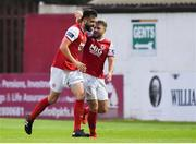 9 August 2019; David Webster, left, of St Patrick's Athletic celebrates after scoring his side's first goal with team-mate Conor Clifford during the Extra.ie FAI Cup First Round match between St. Patrick's Athletic and Bray Wanderers at Richmond Park in Dublin. Photo by Ben McShane/Sportsfile