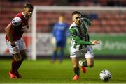 9 August 2019; Dylan McGlade of Bray Wanderers in action against Conor Clifford of St Patrick's Athletic during the Extra.ie FAI Cup First Round match between St. Patrick's Athletic and Bray Wanderers at Richmond Park in Dublin. Photo by Ben McShane/Sportsfile