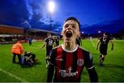 9 August 2019; Andy Lyons of Bohemians celebrates following his side's third goal during the Extra.ie FAI Cup First Round match between Bohemians and Shelbourne at Dalymount Park in Dublin. Photo by Stephen McCarthy/Sportsfile