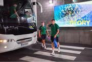 10 August 2019; Jordan Larmour left, and Garry Ringrose arrive prior to the Guinness Summer Series 2019 match between Ireland and Italy at the Aviva Stadium in Dublin. Photo by Brendan Moran/Sportsfile