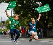 10 August 2019; Brothers Sean, age 9, and Odhrán Redmond, age 8, from Sallins, Kildare, prior to the Guinness Summer Series 2019 match between Ireland and Italy at the Aviva Stadium in Dublin. Photo by Seb Daly/Sportsfile
