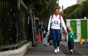 10 August 2019; Elaine Campbell and her daughter Evie, age 3, from Co Westmeath arrive prior to the Guinness Summer Series 2019 match between Ireland and Italy at the Aviva Stadium in Dublin. Photo by David Fitzgerald/Sportsfile