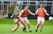 10 August 2019; Maria Reilly of Mayo scores a goal past Sarah Marley of Armagh during the TG4 All-Ireland Ladies Football Senior Championship Quarter-Final match between Mayo and Armagh at Glennon Brothers Pearse Park in Longford. Photo by Matt Browne/Sportsfile