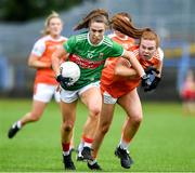 10 August 2019; Sinead Cafferky of Mayo in action against Niamh Marley of Armagh during the TG4 All-Ireland Ladies Football Senior Championship Quarter-Final match between Mayo and Armagh at Glennon Brothers Pearse Park in Longford. Photo by Matt Browne/Sportsfile
