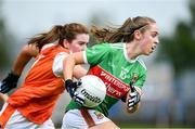 10 August 2019; Sinead Cafferky of Mayo in action against Colleen McKenna of Armagh during the TG4 All-Ireland Ladies Football Senior Championship Quarter-Final match between Mayo and Armagh at Glennon Brothers Pearse Park in Longford. Photo by Matt Browne/Sportsfile
