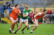 10 August 2019; Grace Kelly of Mayo in action against Colleen McKenna and Sarah Marley of Armagh during the TG4 All-Ireland Ladies Football Senior Championship Quarter-Final match between Mayo and Armagh at Glennon Brothers Pearse Park in Longford. Photo by Matt Browne/Sportsfile