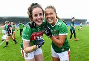 10 August 2019; Mayo players Emma Needham and Sarah Rowe celebrate after the TG4 All-Ireland Ladies Football Senior Championship Quarter-Final match between Mayo and Armagh at Glennon Brothers Pearse Park in Longford. Photo by Matt Browne/Sportsfile