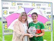 10 August 2019; Danielle Caldwell of Mayo receives the Player of the Match award from Marie Hickey, President, Ladies Gaelic Football Association, following the TG4 All-Ireland Ladies Football Senior Championship Quarter-Final match between Mayo and Armagh at Glennon Brothers Pearse Park in Longford. Photo by Matt Browne/Sportsfile
