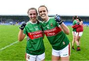 10 August 2019; Mayo players Sinead Cofferky and Clodagh McManamon celebrate after the TG4 All-Ireland Ladies Football Senior Championship Quarter-Final match between Mayo and Armagh at Glennon Brothers Pearse Park in Longford. Photo by Matt Browne/Sportsfile