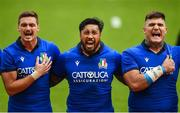 10 August 2019; Italy players during the national anthem prior to the Guinness Summer Series 2019 match between Ireland and Italy at the Aviva Stadium in Dublin. Photo by David Fitzgerald/Sportsfile