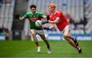 10 August 2019; Jack Cahalane of Cork in action against Owen McHale of Mayo during the Electric Ireland GAA Football All-Ireland Minor Championship Semi-Final match between Cork and Mayo at Croke Park in Dublin. Photo by Sam Barnes/Sportsfile