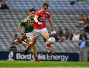10 August 2019; Michael O'Neill of Cork in action against Alfie Morrison of Mayo during the Electric Ireland GAA Football All-Ireland Minor Championship Semi-Final match between Cork and Mayo at Croke Park in Dublin. Photo by Ray McManus/Sportsfile