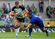 10 August 2019; Garry Ringrose of Ireland skips inside Alessandro Zanni of Italy during the Guinness Summer Series 2019 match between Ireland and Italy at the Aviva Stadium in Dublin. Photo by Brendan Moran/Sportsfile