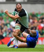 10 August 2019; Rhys Ruddock of Ireland is tackled by Andrea Lovotti of Italy during the Guinness Summer Series 2019 match between Ireland and Italy at the Aviva Stadium in Dublin. Photo by Brendan Moran/Sportsfile