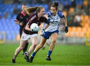 10 August 2019; Louise Ward of Galway in action against Roisin Tobin of Waterford during the TG4 All-Ireland Ladies Football Senior Championship Quarter-Final match between Galway and Waterford at Glennon Brothers Pearse Park in Longford. Photo by Matt Browne/Sportsfile