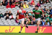 10 August 2019; Patrick Campbell of Cork in action against Ruairi Keane of Mayo during the Electric Ireland GAA Football All-Ireland Minor Championship Semi-Final match between Cork and Mayo at Croke Park in Dublin. Photo by Sam Barnes/Sportsfile