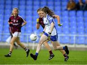 10 August 2019; Emma Murray of Waterford in action against Sarah Conneally of Galway during the TG4 All-Ireland Ladies Football Senior Championship Quarter-Final match between Galway and Waterford at Glennon Brothers Pearse Park in Longford. Photo by Matt Browne/Sportsfile