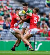 10 August 2019; Shaun Dempsey of Mayo in action against Adam Walsh Murphy, left, and Darragh Cashman of Cork during the Electric Ireland GAA Football All-Ireland Minor Championship Semi-Final match between Cork and Mayo at Croke Park in Dublin. Photo by Piaras Ó Mídheach/Sportsfile