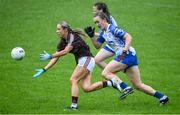 10 August 2019; Megan Glynn of Galway in action against Cooimhe McGrath and Chloe Fennell of Waterford during the TG4 All-Ireland Ladies Football Senior Championship Quarter-Final match between Galway and Waterford at Glennon Brothers Pearse Park in Longford. Photo by Matt Browne/Sportsfile