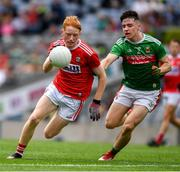 10 August 2019; Jack Cahalane of Cork in action against Alfie Morrison of Mayo during the Electric Ireland GAA Football All-Ireland Minor Championship Semi-Final match between Cork and Mayo at Croke Park in Dublin. Photo by Ray McManus/Sportsfile