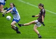 10 August 2019; Tracey Leonard of Galway scores a goal past Emma Murray of Waterford during the TG4 All-Ireland Ladies Football Senior Championship Quarter-Final match between Galway and Waterford at Glennon Brothers Pearse Park in Longford. Photo by Matt Browne/Sportsfile