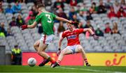 10 August 2019; Jack Cahalane of Cork takes a shot at the goal which is blocked by Oisin Tunney of Mayo during the Electric Ireland GAA Football All-Ireland Minor Championship Semi-Final match between Cork and Mayo at Croke Park in Dublin. Photo by Sam Barnes/Sportsfile