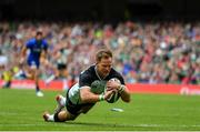 10 August 2019; Kieran Marmion of Ireland scores his side's fourth try during the Guinness Summer Series 2019 match between Ireland and Italy at the Aviva Stadium in Dublin. Photo by Brendan Moran/Sportsfile