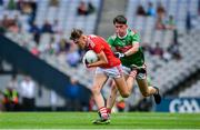 10 August 2019; Darragh Cashman of Cork in action against Mark Tighe of Mayo during the Electric Ireland GAA Football All-Ireland Minor Championship Semi-Final match between Cork and Mayo at Croke Park in Dublin. Photo by Sam Barnes/Sportsfile