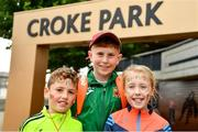 10 August 2019; Mayo supporters, from left, William Langan, Barry Walsh and Jane Langan, from Knockmore, ahead of the GAA Football All-Ireland Senior Championship Semi-Final match between Dublin and Mayo at Croke Park in Dublin. Photo by Ramsey Cardy/Sportsfile