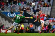 10 August 2019; Eoghan Nash of Cork in action against Paul Walsh of Mayo during the Electric Ireland GAA Football All-Ireland Minor Championship Semi-Final match between Cork and Mayo at Croke Park in Dublin. Photo by Sam Barnes/Sportsfile