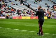 10 August 2019; Mayo manager James Horan inspects the pitch during half time in the minor game which preceded the GAA Football All-Ireland Senior Championship Semi-Final match between Dublin and Mayo at Croke Park in Dublin. Photo by Ray McManus/Sportsfile