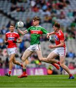 10 August 2019; Dylan Thornton of Mayo in action against Hugh Murphy of Cork during the Electric Ireland GAA Football All-Ireland Minor Championship Semi-Final match between Cork and Mayo at Croke Park in Dublin. Photo by Sam Barnes/Sportsfile