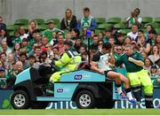 10 August 2019; Joey Carbery of Ireland reacts as he is taken from the field following an injury during the Guinness Summer Series 2019 match between Ireland and Italy at the Aviva Stadium in Dublin. Photo by Seb Daly/Sportsfile