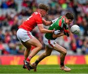 10 August 2019; Frank Irwin of Mayo in action against Daniel Peet of Cork during the Electric Ireland GAA Football All-Ireland Minor Championship Semi-Final match between Cork and Mayo at Croke Park in Dublin. Photo by Sam Barnes/Sportsfile