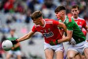 10 August 2019; Daniel Peet of Cork in action against Frank Irwin of Mayo during the Electric Ireland GAA Football All-Ireland Minor Championship Semi-Final match between Cork and Mayo at Croke Park in Dublin. Photo by Sam Barnes/Sportsfile