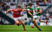 10 August 2019; Mark Tighe of Mayo in action against Daniel Peet of Cork during the Electric Ireland GAA Football All-Ireland Minor Championship Semi-Final match between Cork and Mayo at Croke Park in Dublin. Photo by Sam Barnes/Sportsfile