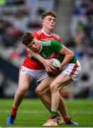 10 August 2019; Frank Irwin of Mayo in action against Hugh Murphy of Cork during the Electric Ireland GAA Football All-Ireland Minor Championship Semi-Final match between Cork and Mayo at Croke Park in Dublin. Photo by Sam Barnes/Sportsfile