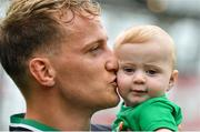 10 August 2019; Mike Haley of Ireland, with his son Frank, following the Guinness Summer Series 2019 match between Ireland and Italy at the Aviva Stadium in Dublin. Photo by Brendan Moran/Sportsfile